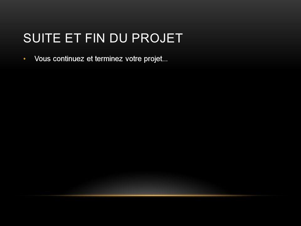 Suite et Fin du Projet Vous continuez et terminez votre projet...