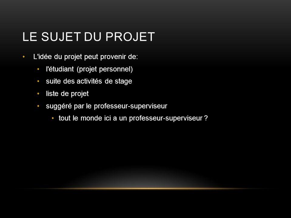 Le Sujet du Projet L idée du projet peut provenir de: