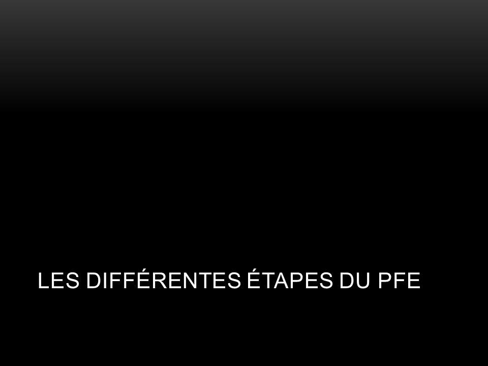 Les différentes étapes du PFE