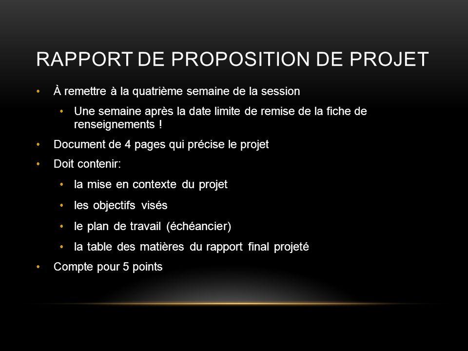Rapport de proposition de projet