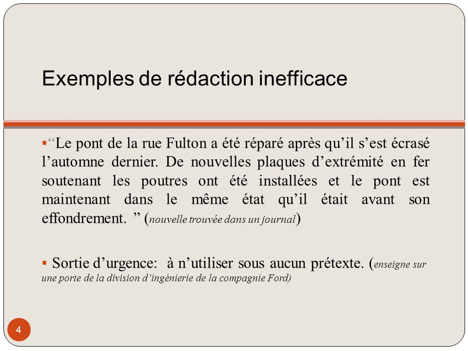 Exemples de rédaction inefficace