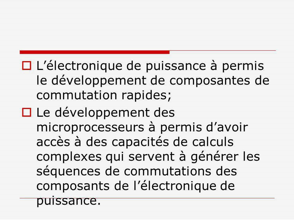 L'électronique de puissance à permis le développement de composantes de commutation rapides;