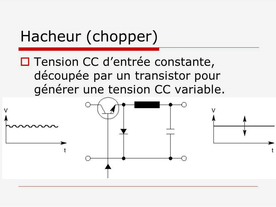Hacheur (chopper) Tension CC d'entrée constante, découpée par un transistor pour générer une tension CC variable.
