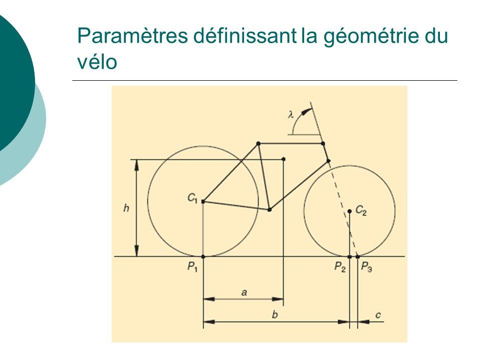 Paramètres définissant la géométrie du vélo