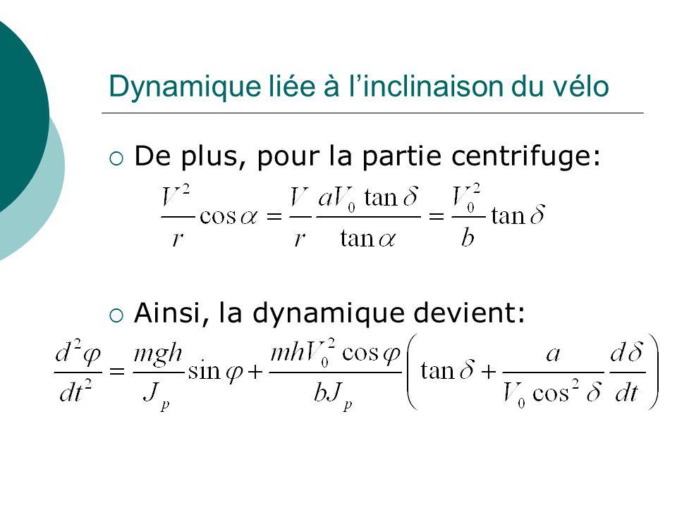 Dynamique liée à l'inclinaison du vélo