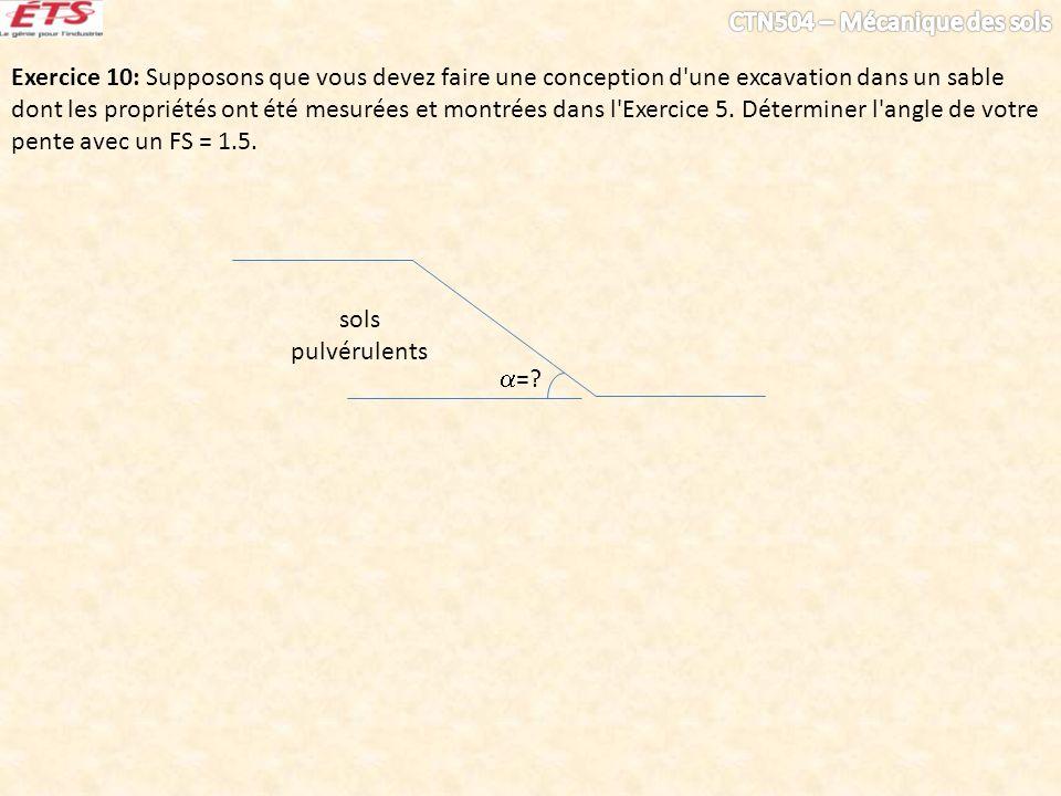 Exercice 10: Supposons que vous devez faire une conception d une excavation dans un sable dont les propriétés ont été mesurées et montrées dans l Exercice 5. Déterminer l angle de votre pente avec un FS = 1.5.