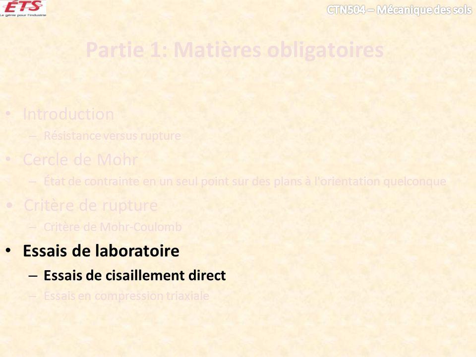 Partie 1: Matières obligatoires