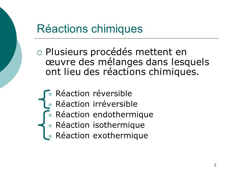 Réactions chimiques Plusieurs procédés mettent en œuvre des mélanges dans lesquels ont lieu des réactions chimiques.