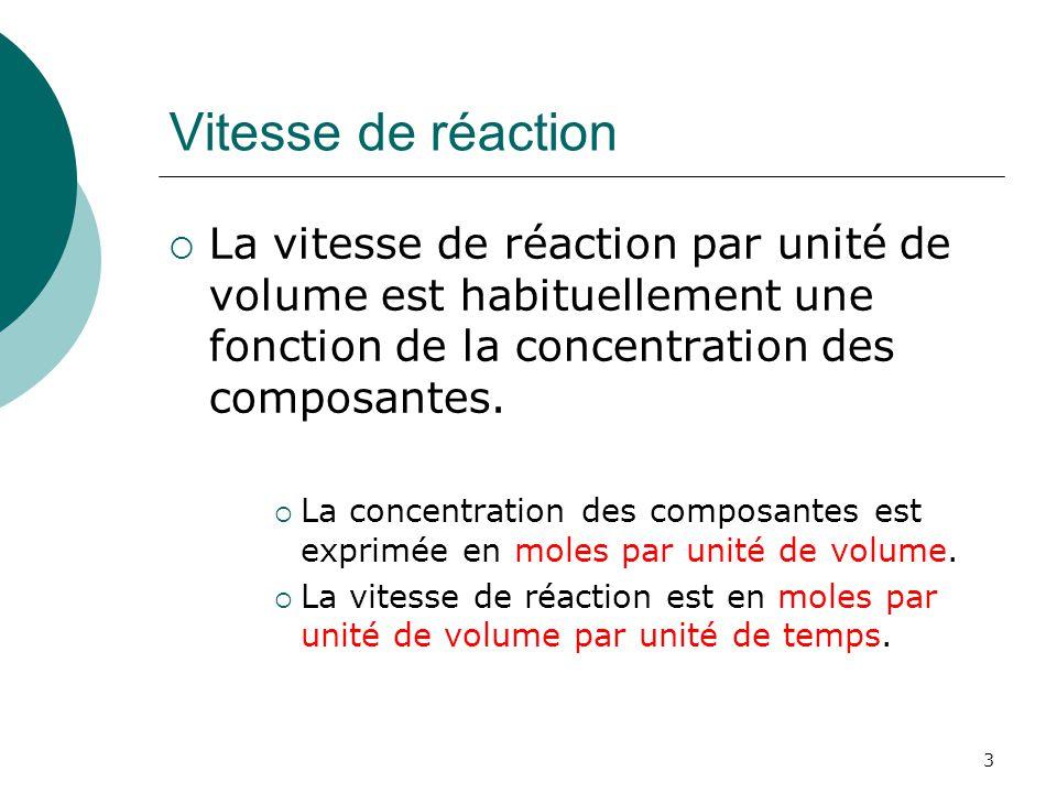 Vitesse de réaction La vitesse de réaction par unité de volume est habituellement une fonction de la concentration des composantes.