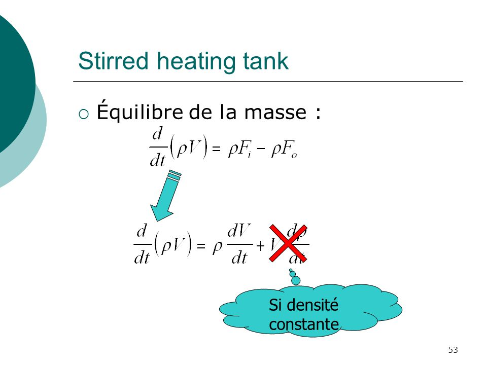 Stirred heating tank Équilibre de la masse : Si densité constante