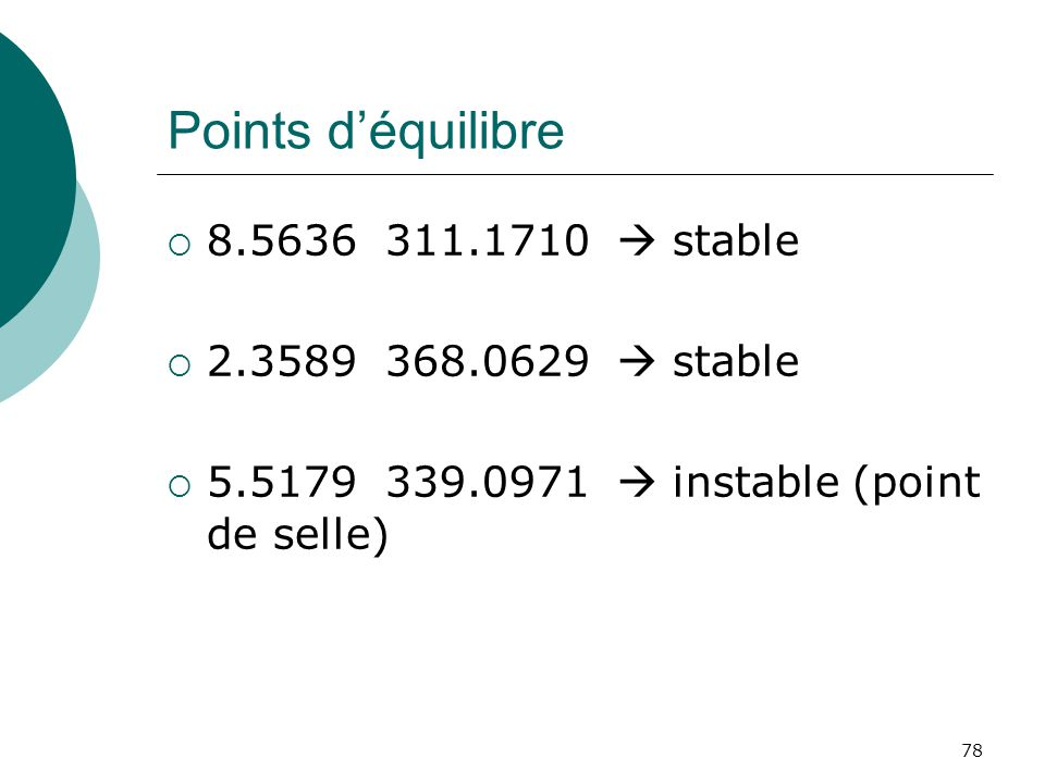 Points d'équilibre 8.5636 311.1710  stable 2.3589 368.0629  stable