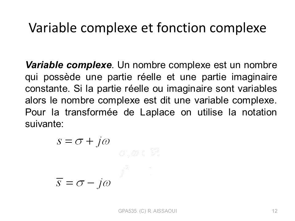 Variable complexe et fonction complexe