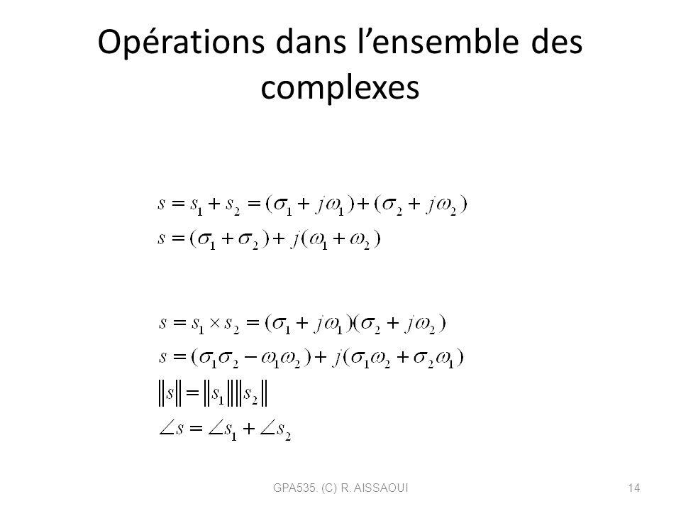 Opérations dans l'ensemble des complexes