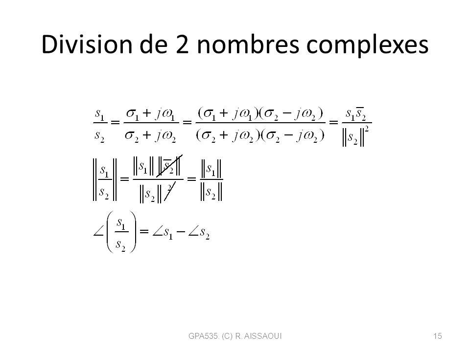 Division de 2 nombres complexes