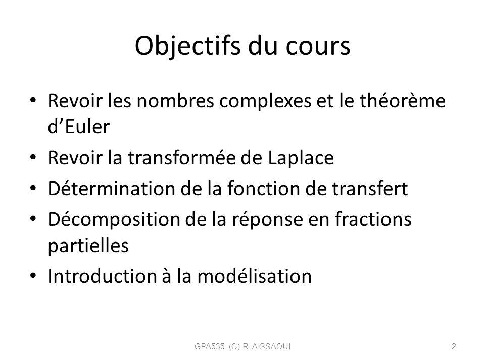 Objectifs du cours Revoir les nombres complexes et le théorème d'Euler