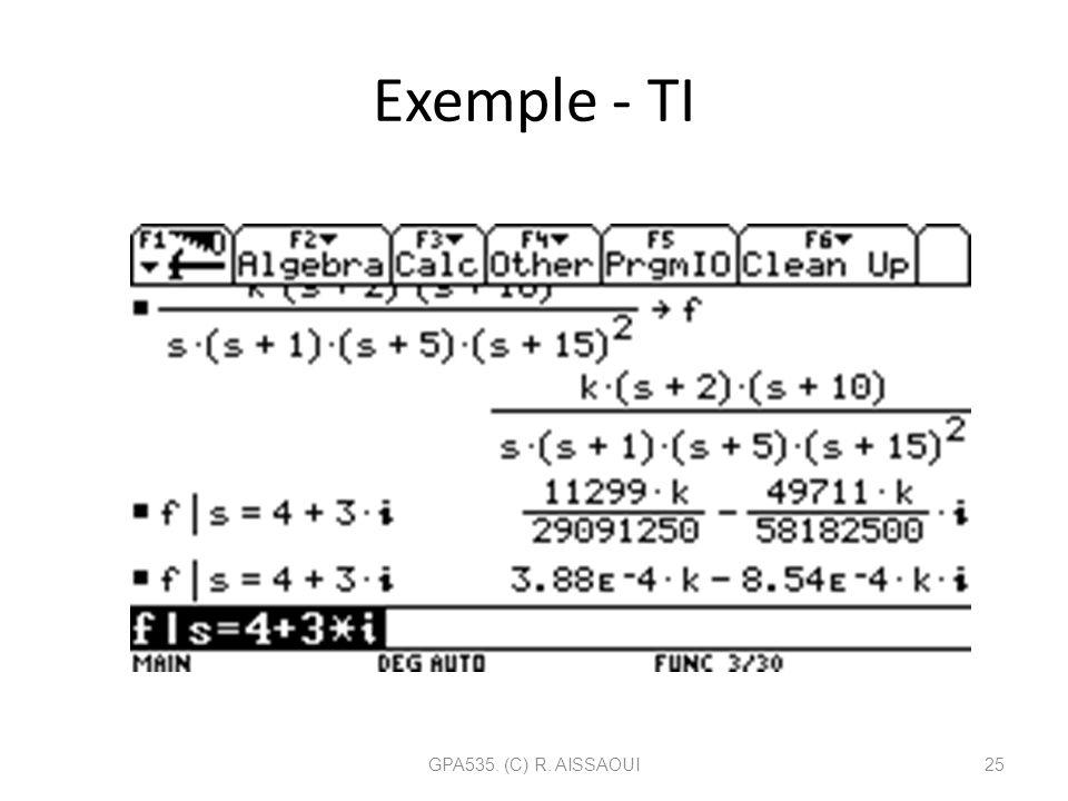 Exemple - TI GPA535. (C) R. AISSAOUI