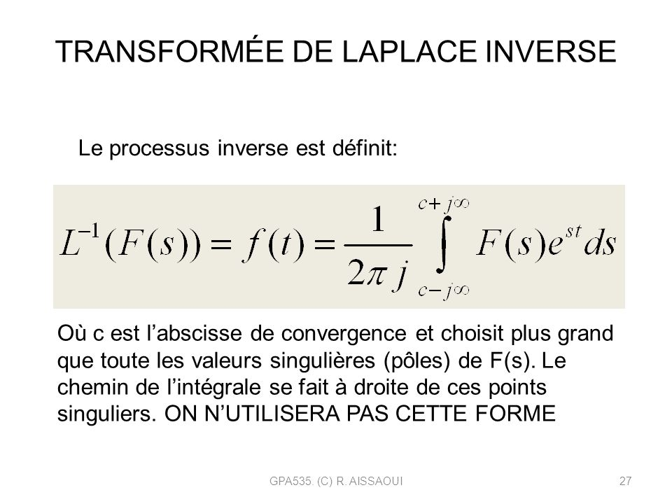 TRANSFORMÉE DE LAPLACE INVERSE