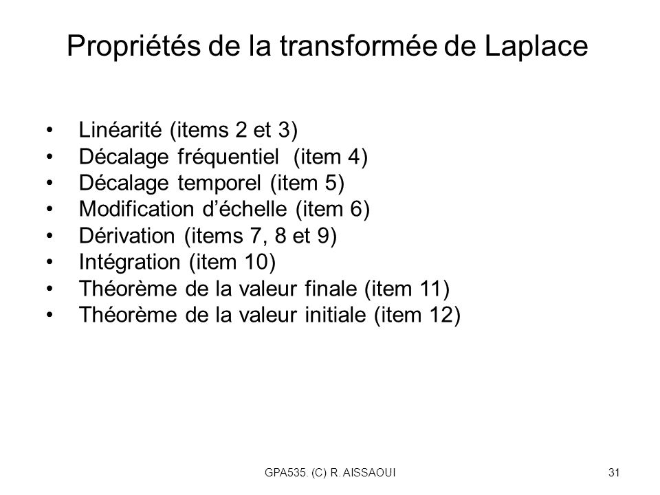 Propriétés de la transformée de Laplace