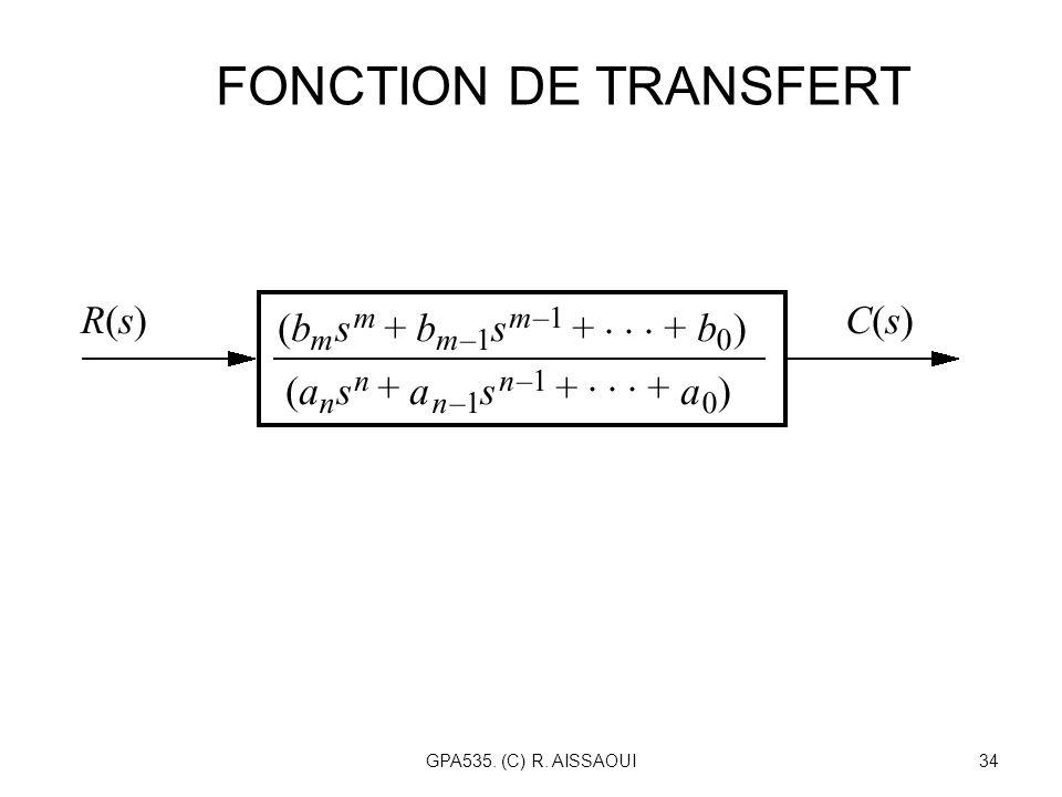 FONCTION DE TRANSFERT GPA535. (C) R. AISSAOUI