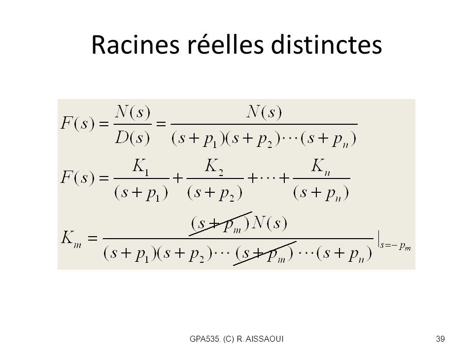 Racines réelles distinctes