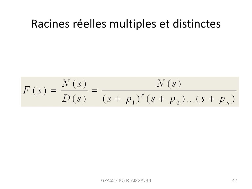 Racines réelles multiples et distinctes
