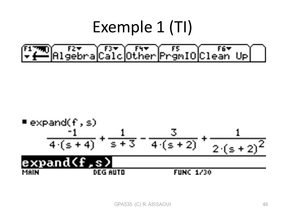 Exemple 1 (TI) GPA535. (C) R. AISSAOUI