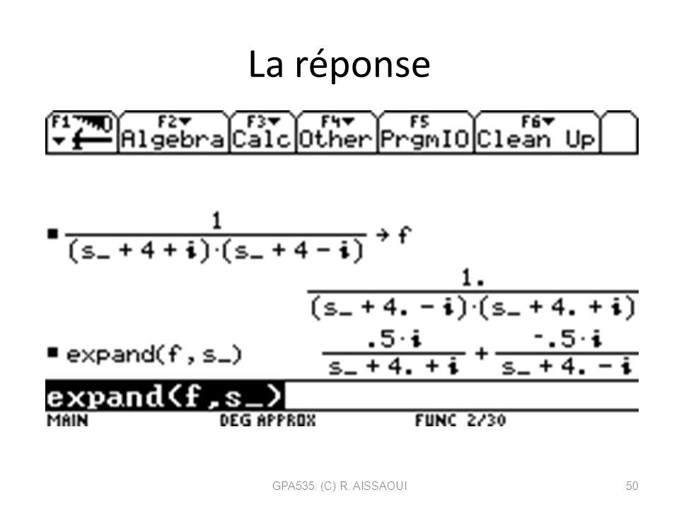 La réponse GPA535. (C) R. AISSAOUI