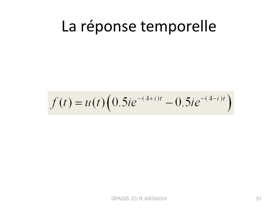 La réponse temporelle GPA535. (C) R. AISSAOUI