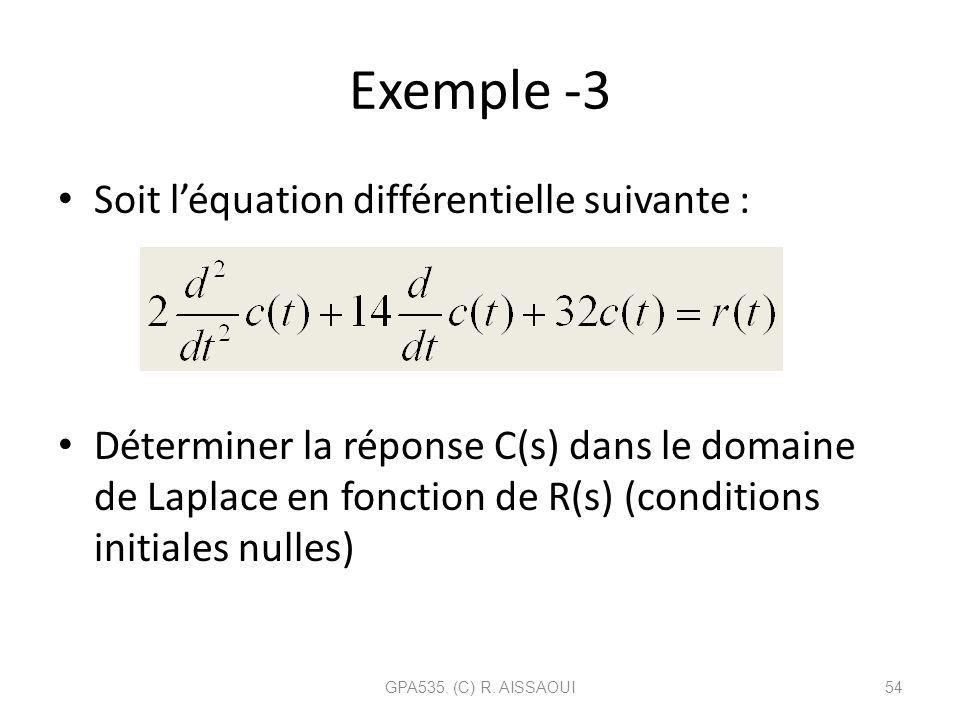 Exemple -3 Soit l'équation différentielle suivante :