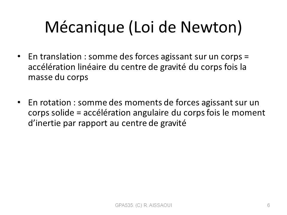 Mécanique (Loi de Newton)