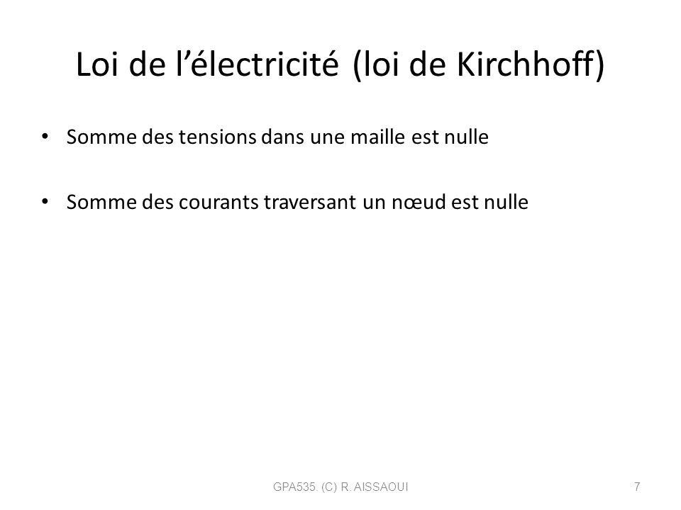 Loi de l'électricité (loi de Kirchhoff)