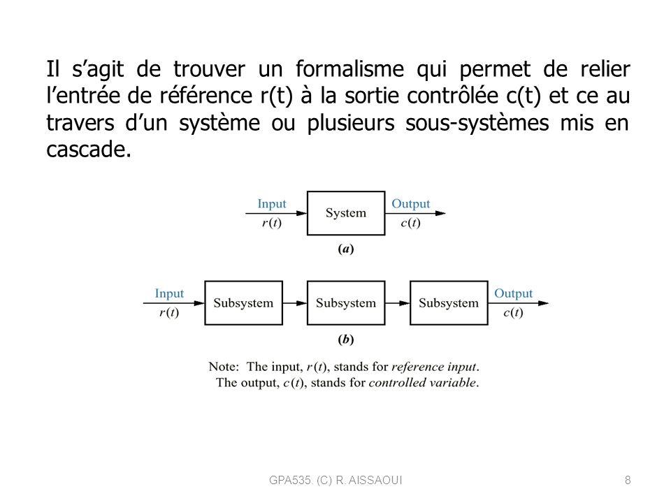 Il s'agit de trouver un formalisme qui permet de relier l'entrée de référence r(t) à la sortie contrôlée c(t) et ce au travers d'un système ou plusieurs sous-systèmes mis en cascade.