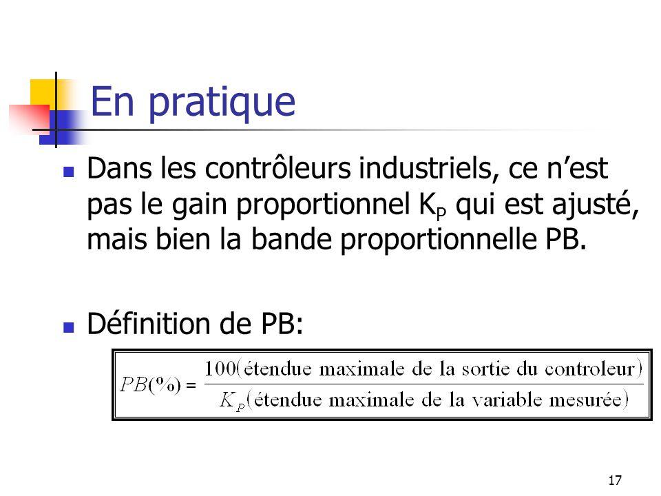 En pratique Dans les contrôleurs industriels, ce n'est pas le gain proportionnel KP qui est ajusté, mais bien la bande proportionnelle PB.