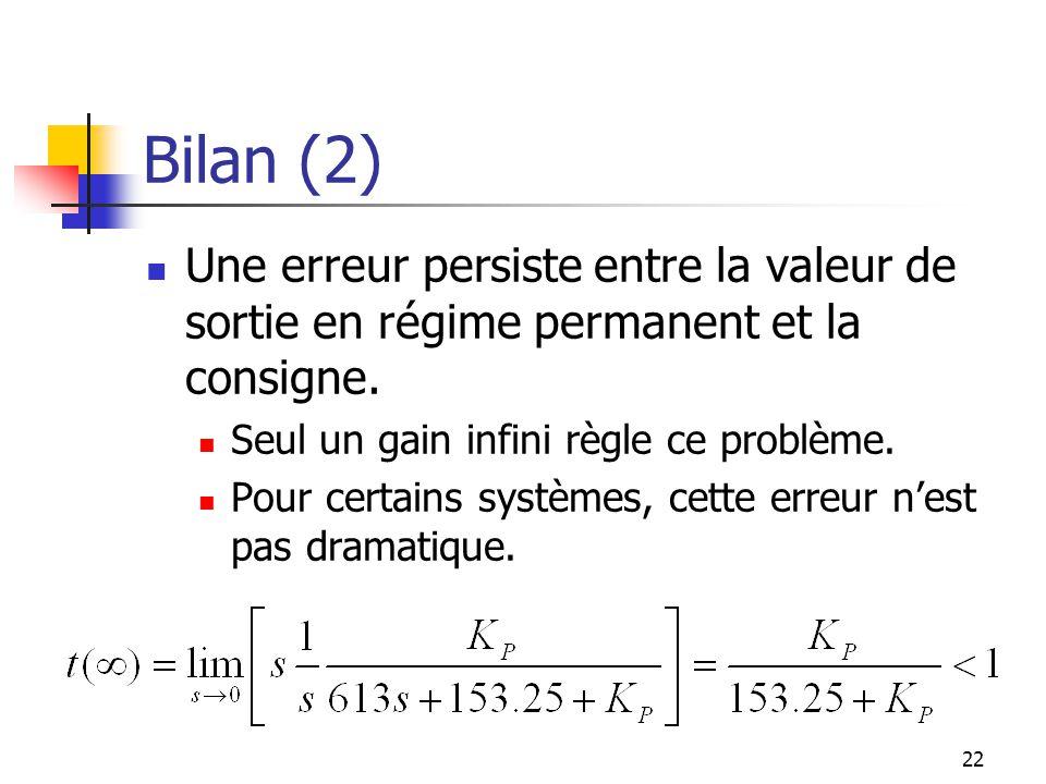 Bilan (2) Une erreur persiste entre la valeur de sortie en régime permanent et la consigne. Seul un gain infini règle ce problème.