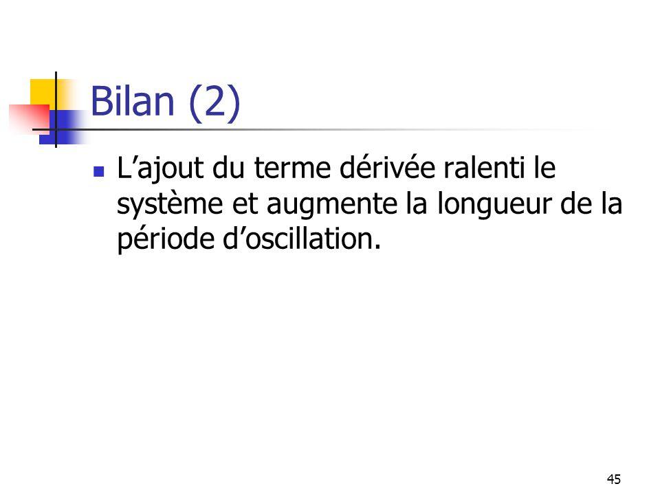 Bilan (2) L'ajout du terme dérivée ralenti le système et augmente la longueur de la période d'oscillation.