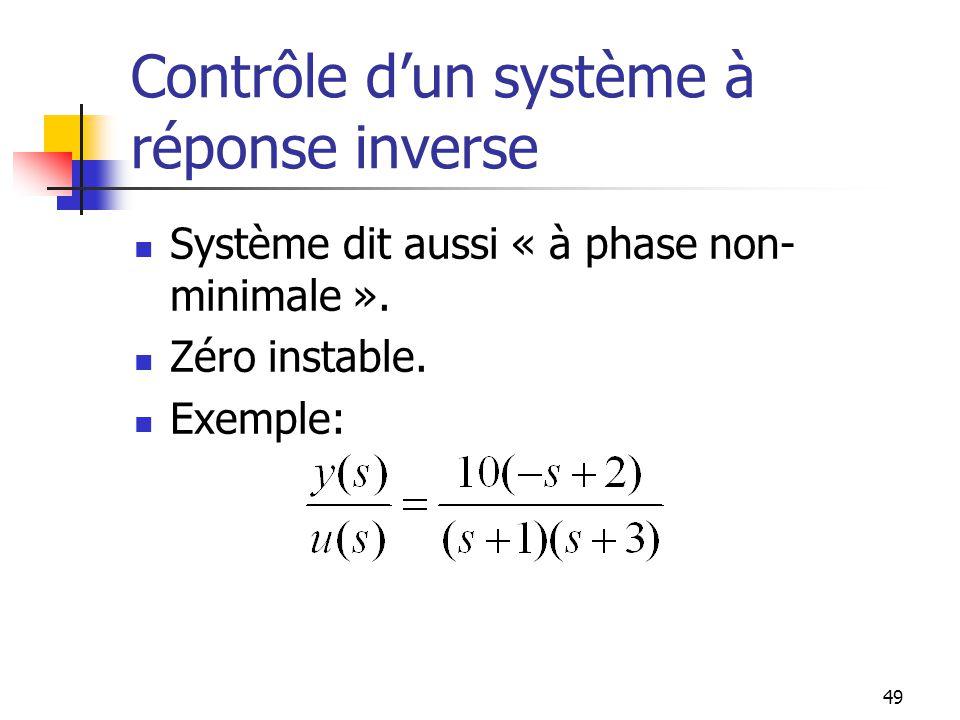 Contrôle d'un système à réponse inverse