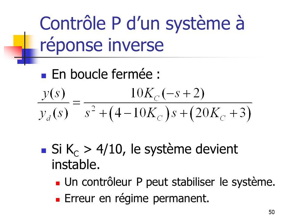 Contrôle P d'un système à réponse inverse