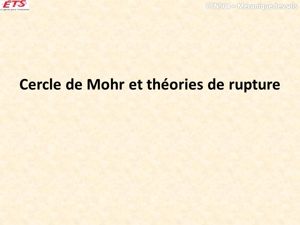 Cercle de Mohr et théories de rupture