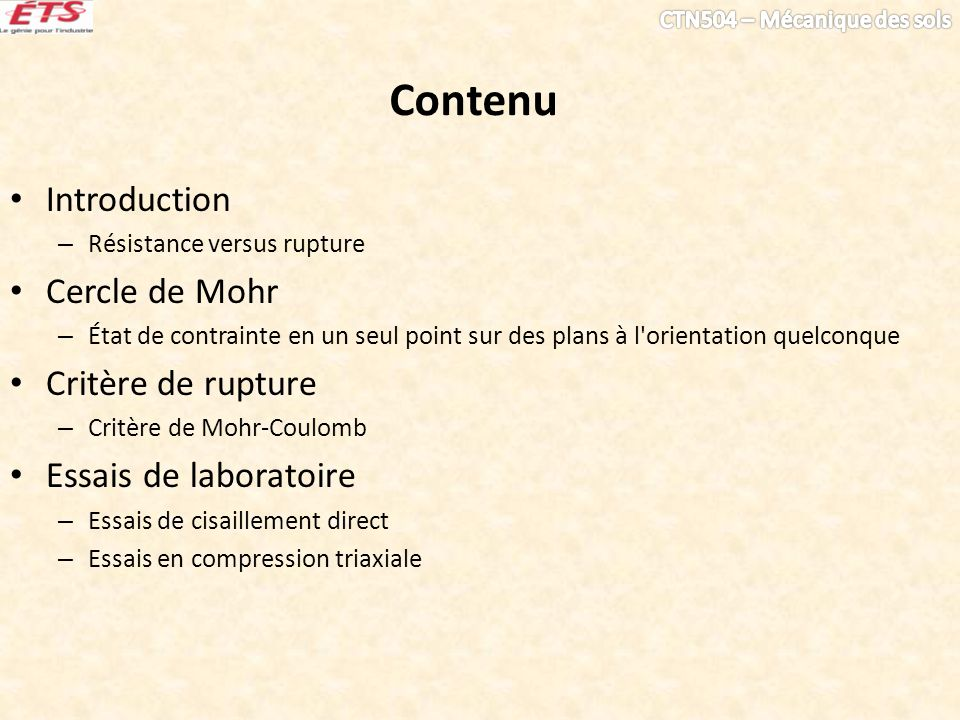 Contenu Introduction Cercle de Mohr Critère de rupture