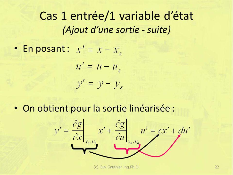 Cas 1 entrée/1 variable d'état (Ajout d'une sortie - suite)