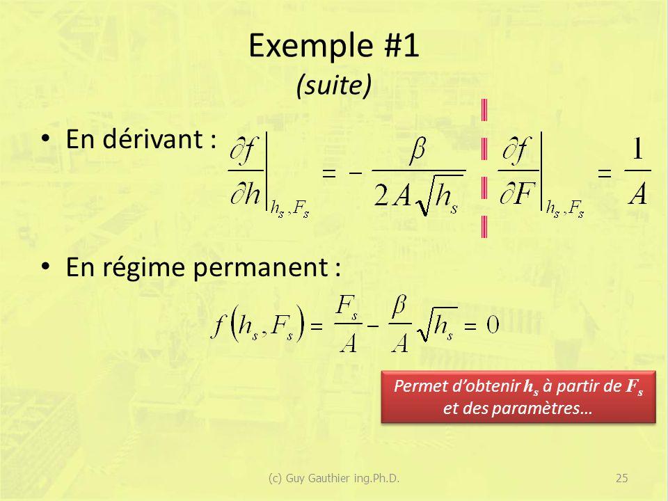 Exemple #1 (suite) En dérivant : En régime permanent :