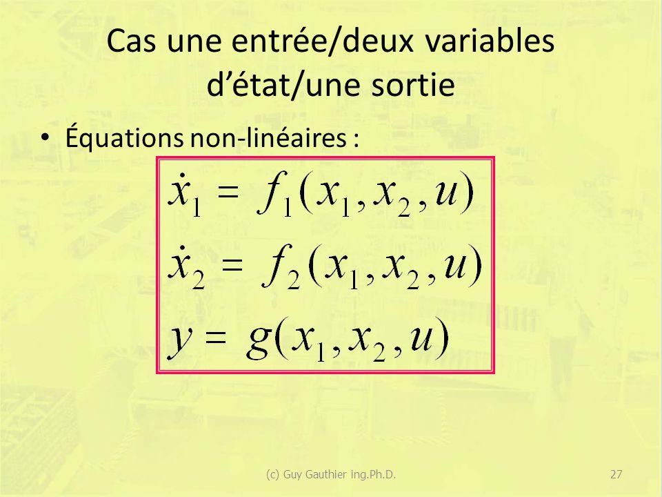 Cas une entrée/deux variables d'état/une sortie