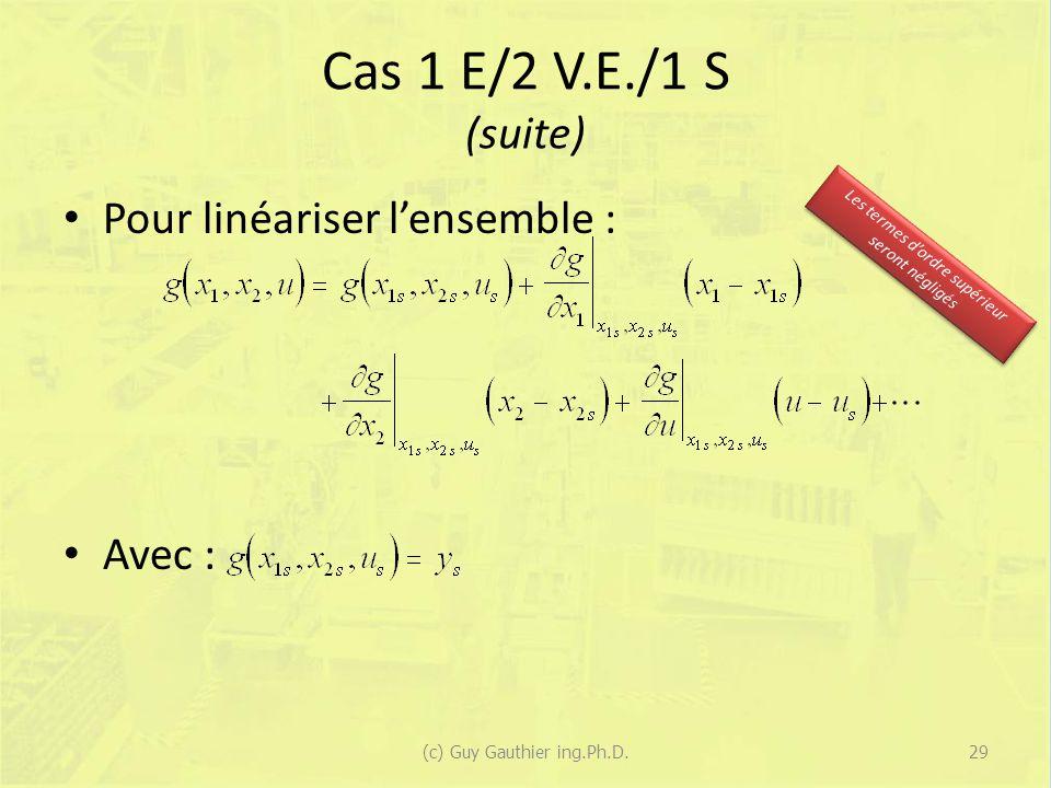 Cas 1 E/2 V.E./1 S (suite) Pour linéariser l'ensemble : Avec :