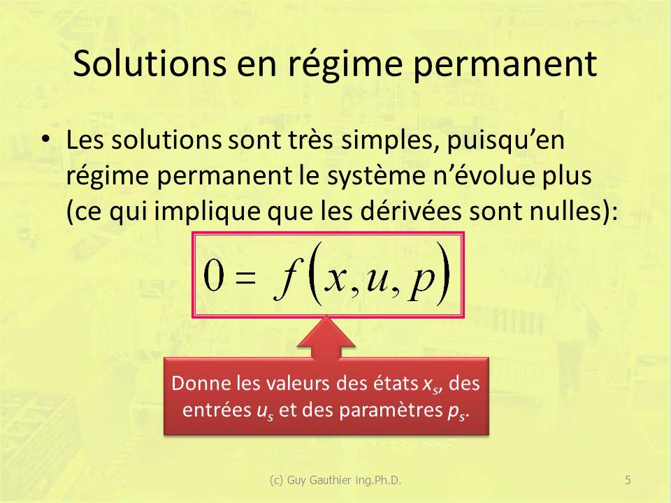 Solutions en régime permanent