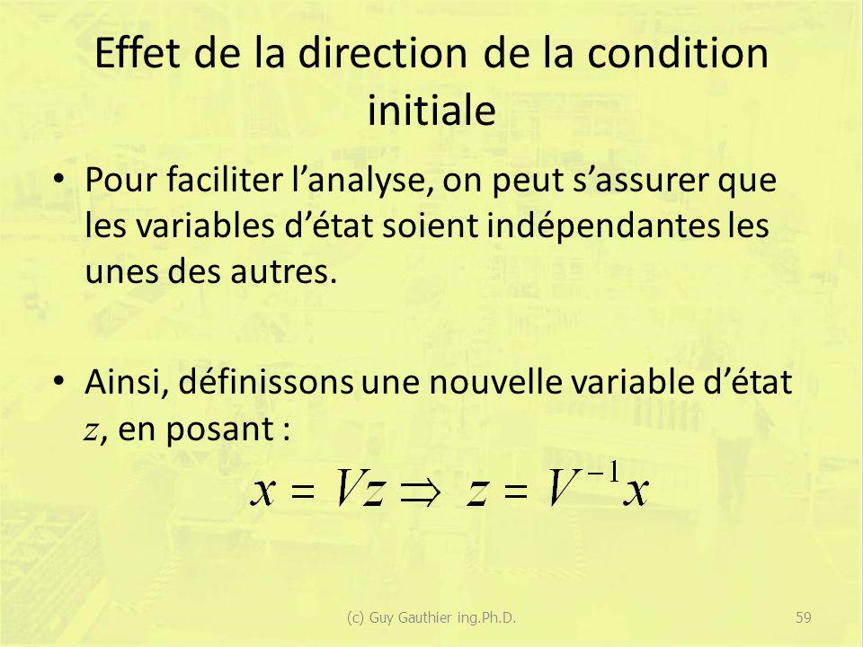 Effet de la direction de la condition initiale