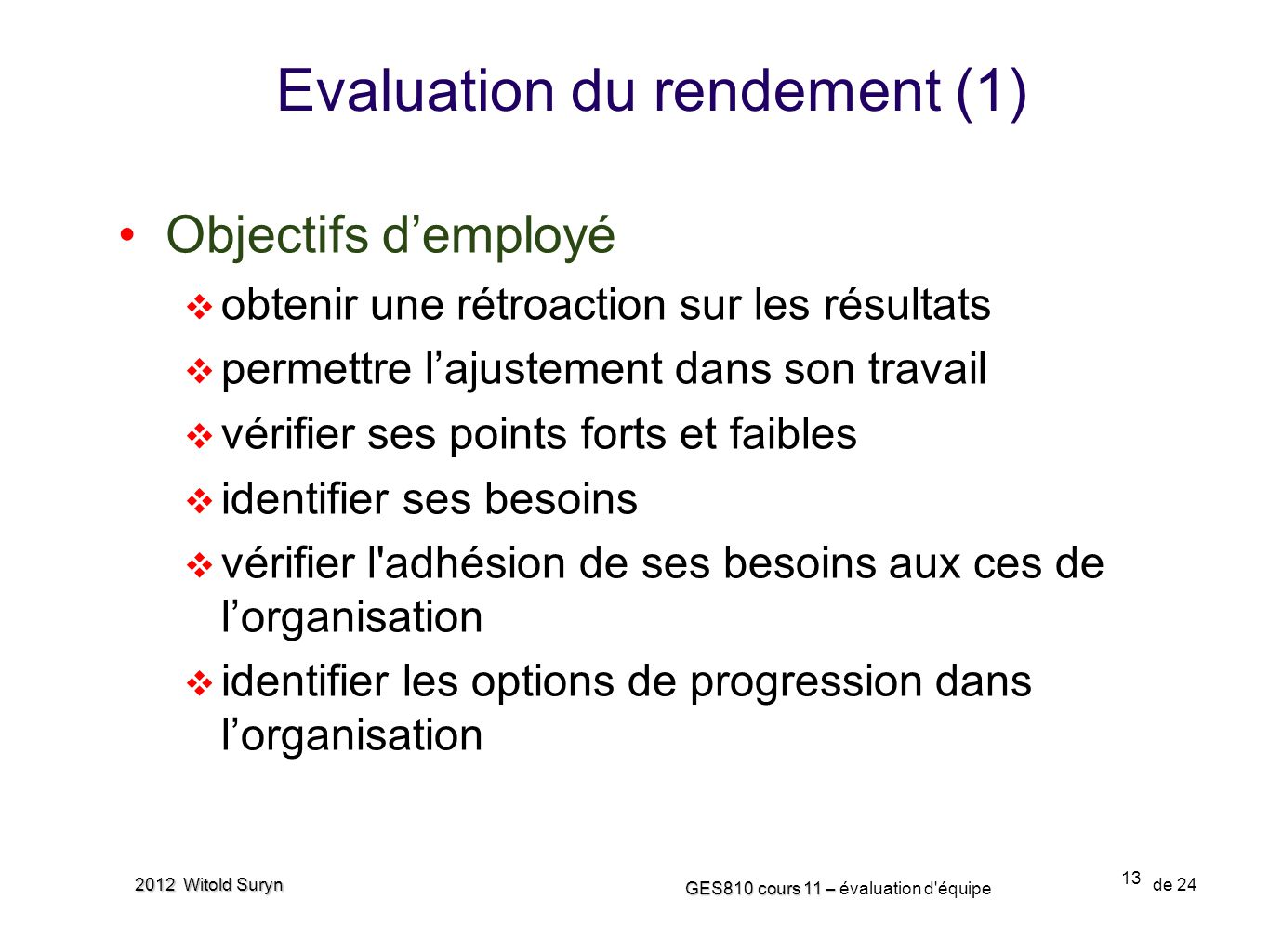 Evaluation du rendement (1)