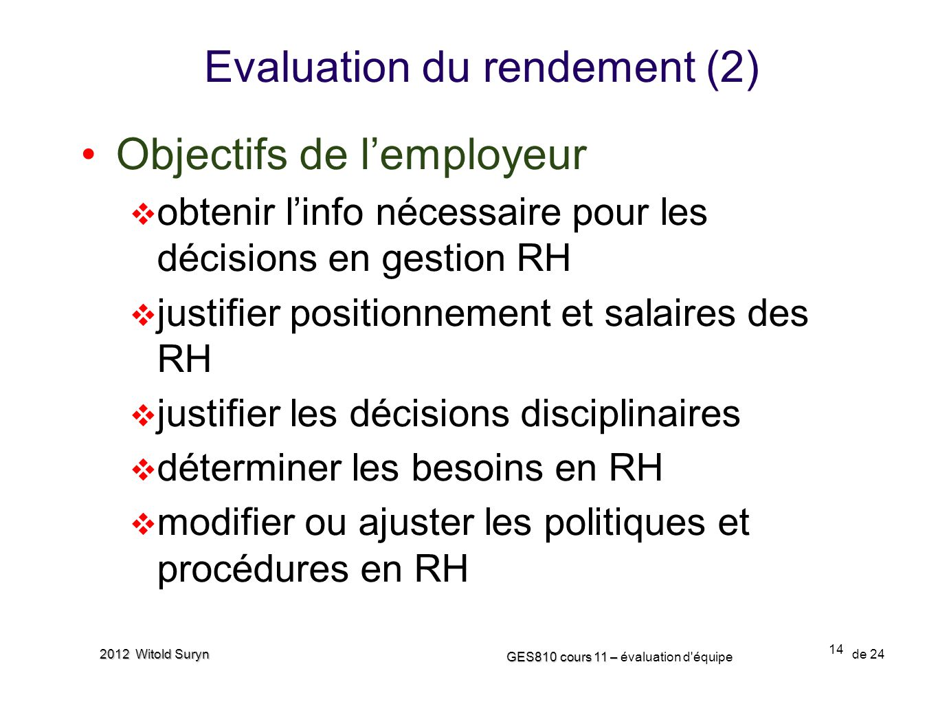 Evaluation du rendement (2)