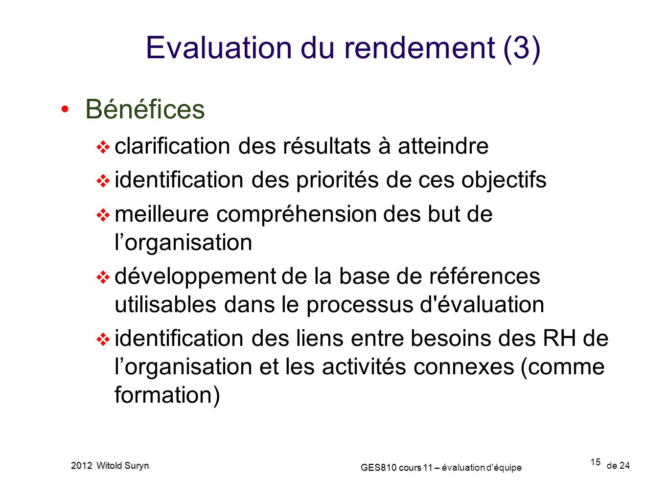 Evaluation du rendement (3)