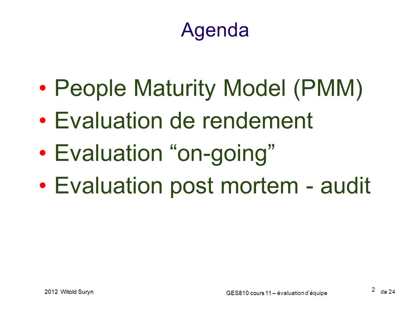 People Maturity Model (PMM) Evaluation de rendement