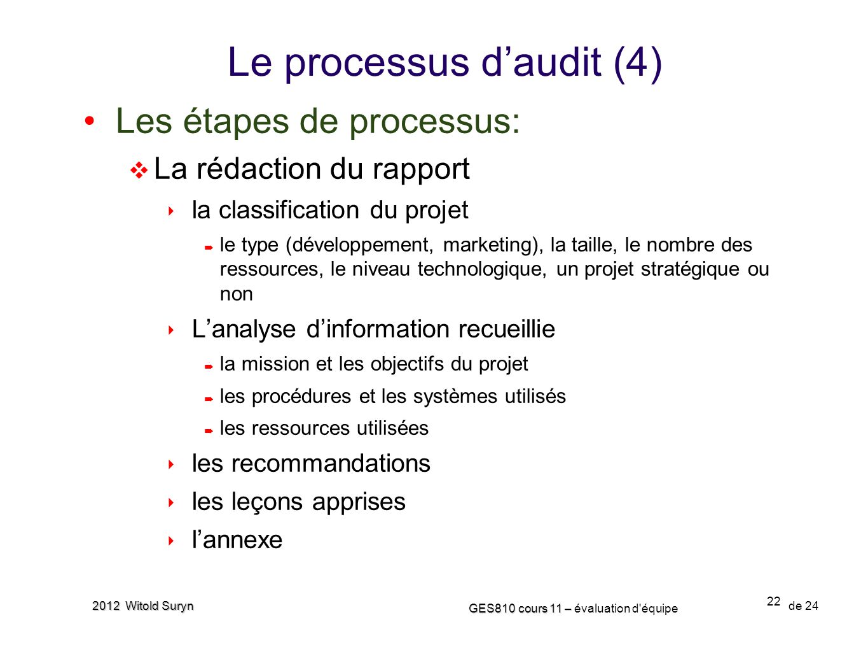 Le processus d'audit (4)